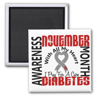 Diabetes Awareness Month Heart 1.1 2 Inch Square Magnet