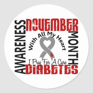 Diabetes Awareness Month Heart 1.1 Classic Round Sticker