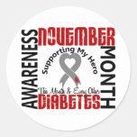 Diabetes Awareness Month Heart 1.3 Round Sticker