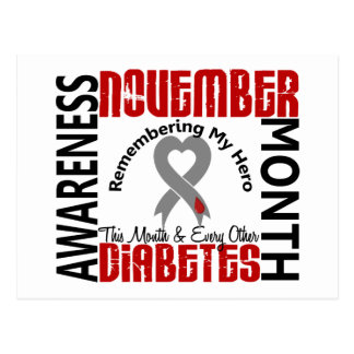 Diabetes Awareness Month Heart 1.4 Postcard