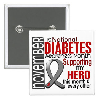 Diabetes Awareness Month Ribbon I2.1 2 Inch Square Button