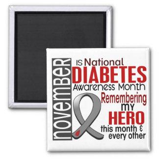 Diabetes Awareness Month Ribbon I2.2 2 Inch Square Magnet