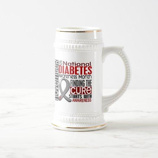 Diabetes Awareness Month Ribbon I2.5 18 Oz Beer Stein