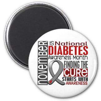 Diabetes Awareness Month Ribbon I2.5 2 Inch Round Magnet