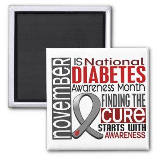 Diabetes Awareness Month Ribbon I2.5 2 Inch Square Magnet