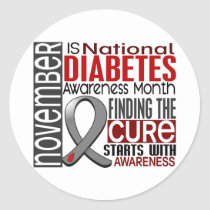 Diabetes Awareness Month Ribbon I2.5 Classic Round Sticker