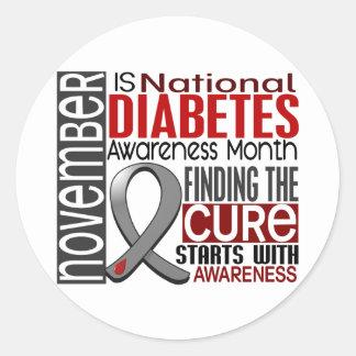 Diabetes Awareness Month Ribbon I2.5 Classic Round Sticker