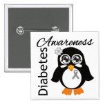 Diabetes Awareness Penguin 2 Inch Square Button