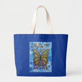 Diabetes Awareness Rainbow Butterfly Tote Bags