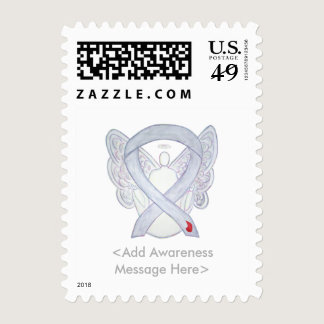Diabetes Awareness Ribbon Angel Art Postage Stamp