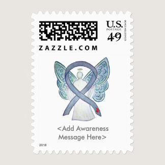 Diabetes Awareness Ribbon Angel Postage Stamps