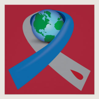 Diabetes Awareness Ribbon Around the World Poster