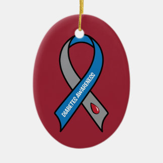Diabetes Awareness Ribbon Ceramic Ornament