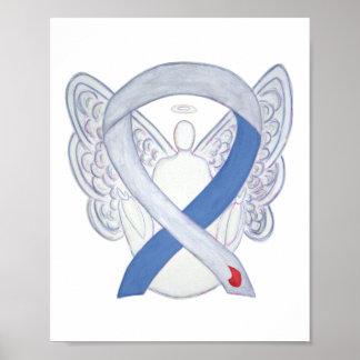 Diabetes Awareness Ribbon IDDM Angel Poster Print