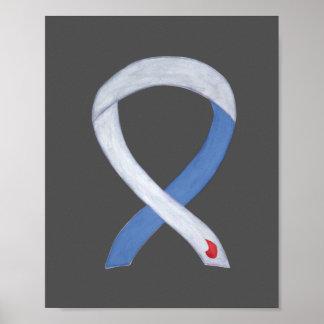 Diabetes Awareness Ribbon IDDM Custom Poster Print