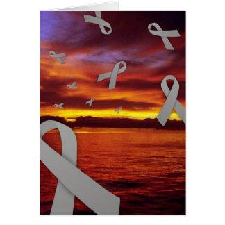 Diabetes Awareness Ribbons Float Through Sunset Card