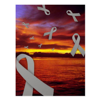 Diabetes Awareness Ribbons Float Through Sunset Postcard