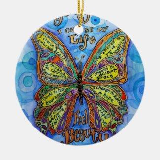 Diabetes Awareness Support Butterfly Art Ornament