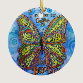 Diabetes Awareness Support Butterfly Art Ornament
