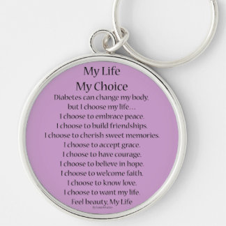 Diabetes Awareness Support Poem Charm Keychains