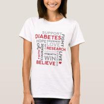 Diabetes Awareness word cloud design T-Shirt
