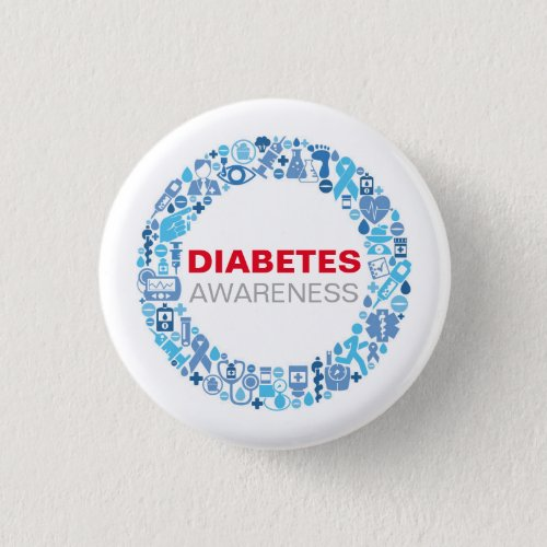 Diabetes Awarenss Blue Circle with symbol Button