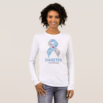Diabetes Awarness Ribbon with Treatment of symbol Long Sleeve T-Shirt