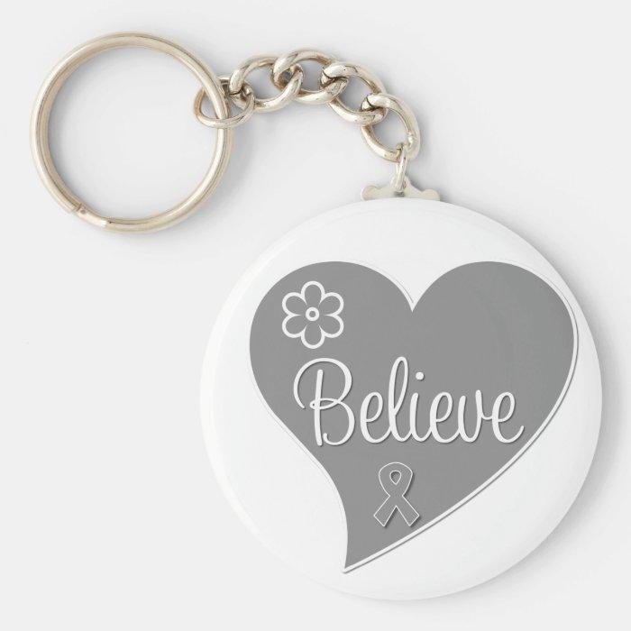 Diabetes Believe Gray Heart Keychain