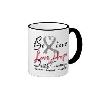 Diabetes Believe Heart Collage Ringer Coffee Mug