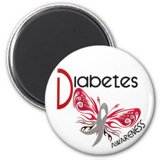 Diabetes BUTTERFLY 3 2 Inch Round Magnet