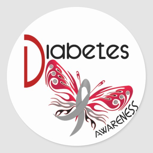 Diabetes BUTTERFLY 3 Round Sticker