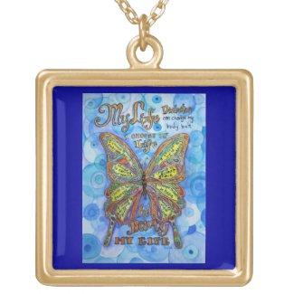 Diabetes Butterfly Art Poem Pendant Necklaces