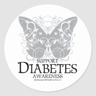 Diabetes Butterfly Classic Round Sticker