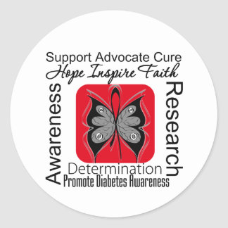 Diabetes Butterfly Inspirations Classic Round Sticker