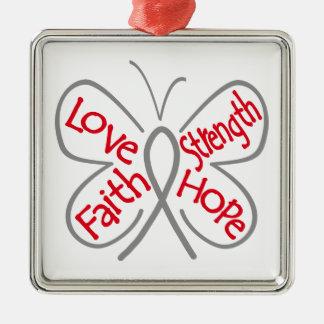 Diabetes Butterfly Inspiring Words Metal Ornament