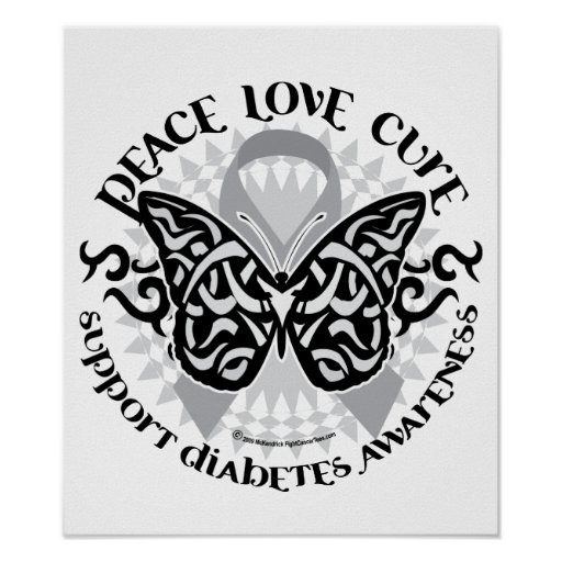 Diabetes Butterfly Tribal Posters