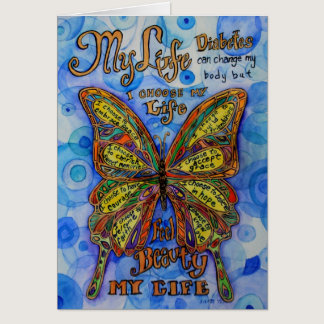 Diabetes Butterfly with Awareness Poem Note Cards