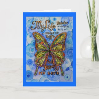 Diabetes Butterfly with Support Poem Greeting Card