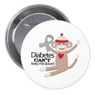 Diabetes Cant Keep Me Down Sock Monkey Button