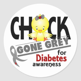 Diabetes Chick Gone Grey 2 Classic Round Sticker