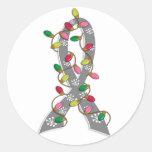 Diabetes Christmas Lights Ribbon Round Sticker