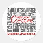 Diabetes cuadrada de la familia etiqueta redonda