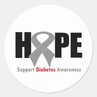 Diabetes de la cinta de la ESPERANZA Pegatina Redonda