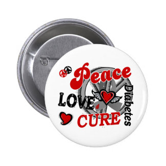 Diabetes de la curación 2 del amor de la paz pin redondo de 2 pulgadas
