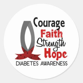 Diabetes de la esperanza de la fuerza de la fe del pegatina redonda