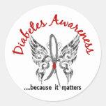 Diabetes de la mariposa 6,1 del tatuaje del Grunge Pegatinas Redondas