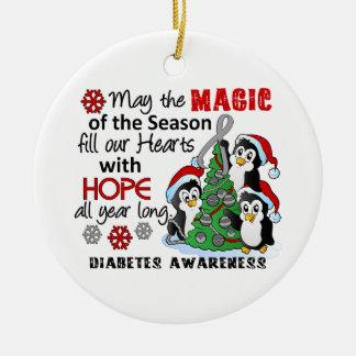 Diabetes de los pingüinos del navidad adorno navideño redondo de cerámica