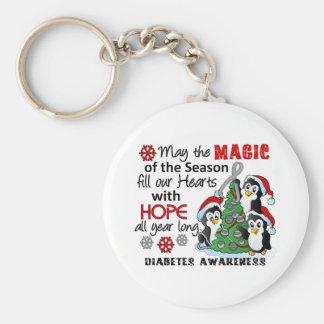 Diabetes de los pingüinos del navidad llavero redondo tipo pin