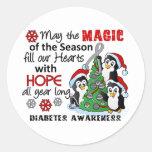 Diabetes de los pingüinos del navidad etiqueta redonda