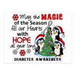 Diabetes de los pingüinos del navidad postal